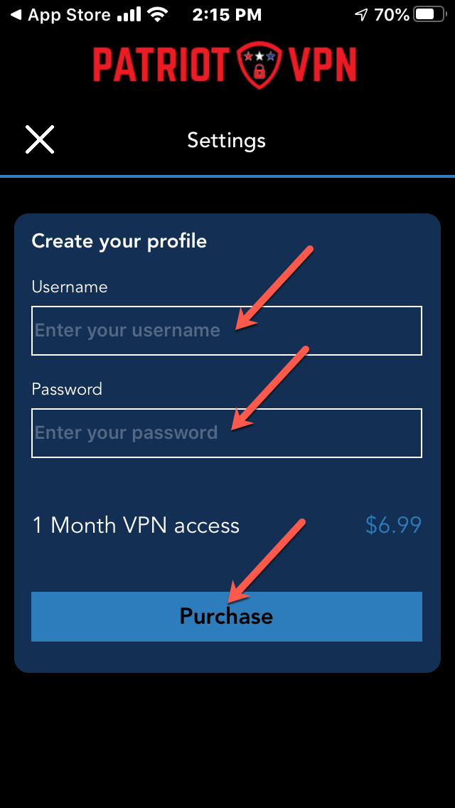 Put in your desired username, password, and click 'Purchase'