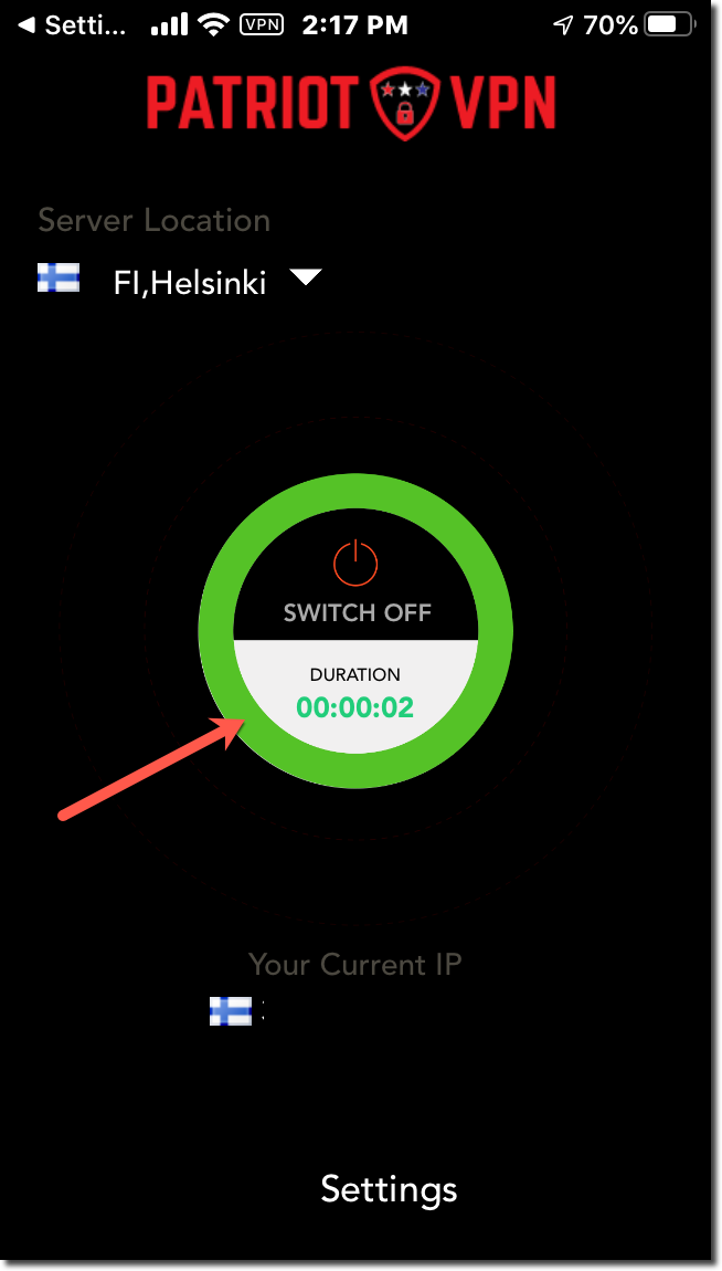 The 'Switch On' button will have a green ring when connected