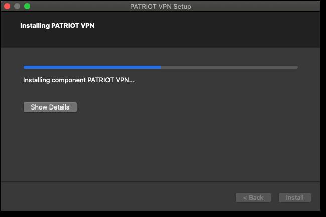 Patriot VPN Installation Progress Bar