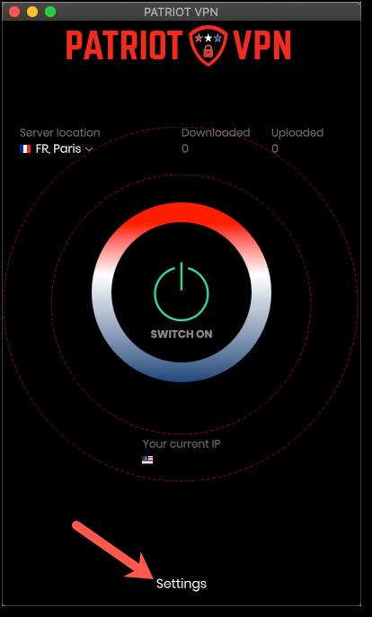 Patriot VPN Configuration, click on 'Settings'