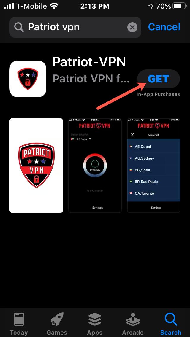 Once 'Patriot VPN' shows up, click on 'Get'
